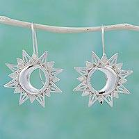 Sterling silver drop earrings, 'Mesmerizing Eclipse' - Sun Moon Eclipse 925 Sterling Silver Jewelry Earrings