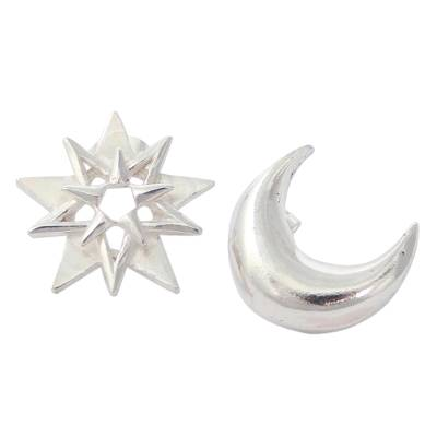 Sterling silver button earrings, 'Moon and Star' - Star and Crescent Moon Silver Button Earrings from Mexico