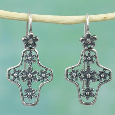 Sterling silver cross earrings, 'Blessed Blossoms' - Floral Cross Earrings Artisan Crafted Mexico Silver Earrings