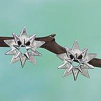 Sterling silver button earrings, 'Twilight Stars' - Three-dimensional 925 Sterling Silver Earrings