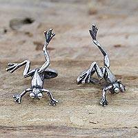 Sterling silver cufflinks, 'Bold Frogs' - Lucky Frog Sterling Silver Cufflinks from Mexico