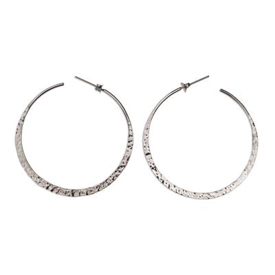 Sterling silver half-hoop earrings, 'Infinite Circle' - Taxco Artisan Crafted Sterling Silver Half Hoop Earrings