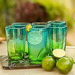 6 Artisan Crafted Blue Green Blown Glass Highball Glasses, 'Aurora Tapatia'