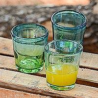 Blown glass rock glasses, 'Aurora Tapatia' (set of 6) - Mexican Green Blue 8 oz Rock Glasses Hand Blown Set of 6