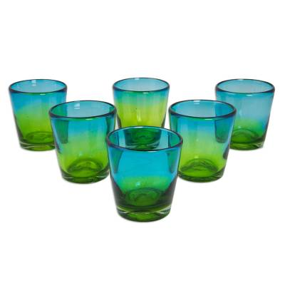 Blown glass rock glasses, 'Aurora Tapatia' (set of 6) - Mexican Green Blue 8 oz Rock Glasses Hand Blown Set of 6