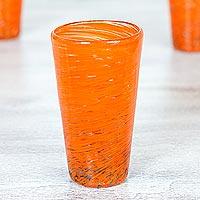 Blown glass highball glasses, 'Orange Centrifuge' (set of 6)