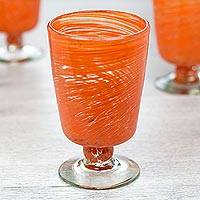 Blown glass dessert glasses, 'Orange Centrifuge' (set of 6) - 6 Hand Blown Halloween Orange 10 oz Dessert Glasses