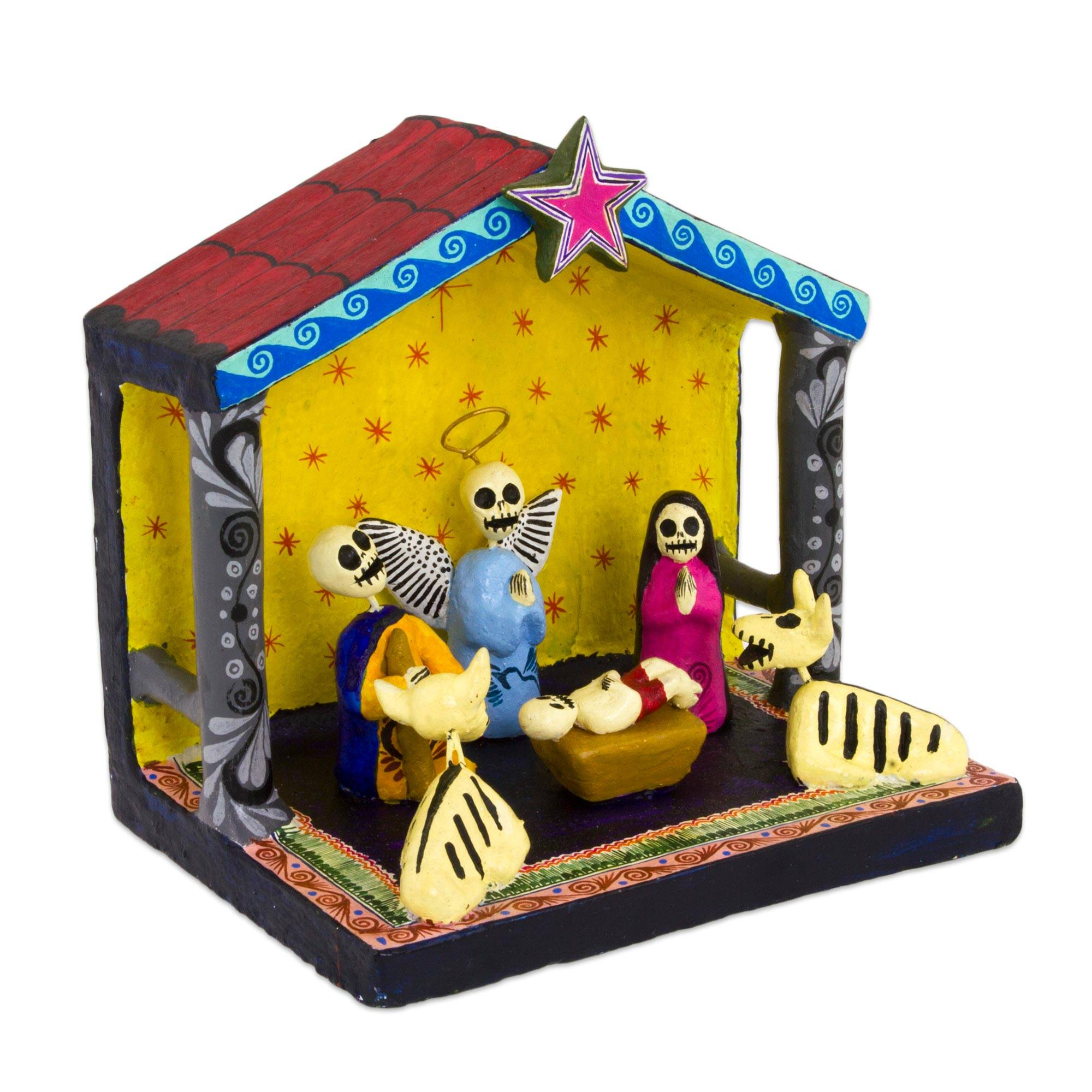 Handcrafted Ceramic Nativity Scene in Day of the Dead Style - Day of ...