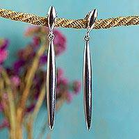 Sterling silver dangle earrings, 'Needle' - Handcrafted Dangle Earrings in 925 Sterling Silver