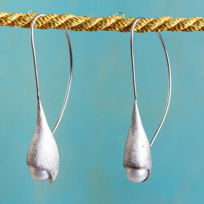 Cultured pearl drop earrings, 'Jasmine Buds' - Contemporary Cultured Pearl Sterling Silver Drop Earrings
