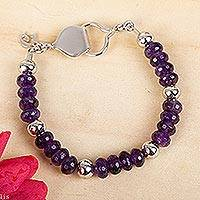 Amethyst beaded bracelet, 'Purple Dahlia' - Handcrafted Amethyst and 925 Sterling Silver Beaded Bracelet