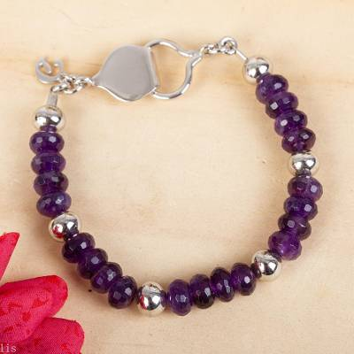 Amethyst beaded bracelet, 'Purple Dahlia' - Handcrafted Amethyst and 925 Sterling Silver Beaded Bracelet