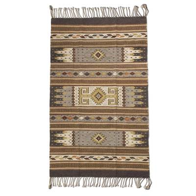 Zapotec wool rug, 'Desert Eyes' (4x7) - Authentic Zapotec Handwoven Rug in Earth Tones (4 x 7)