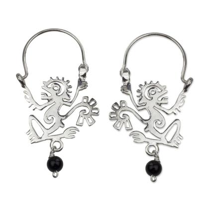 Sterling silver and onyx hoop earrings, 'Ozomatli Monkey' - Ozomatli Pre-Hispanic Monkey 925 Silver Hoop Earrings