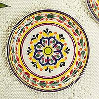 Majolica ceramic dessert plates, 'Celaya Sunflower' (pair) - Blue and Yellow Floral Mexican Ceramic Dessert Plates (Pair)