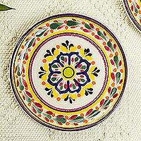 Majolica ceramic dessert plates u0027Celaya Sunfloweru0027 (pair) - Blue and Yellow  sc 1 st  NOVICA & Mexican Dinnerware at NOVICA