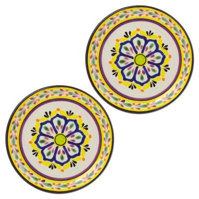UNICEF Market | Blue and Yellow Floral Mexican Ceramic Dessert Plates (Pair) - Celaya Sunflower  sc 1 st  UNICEF Market - UNICEF USA & UNICEF Market | Blue and Yellow Floral Mexican Ceramic Dessert ...