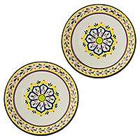 Majolica ceramic dinner plates, 'Celaya Sunflower' (pair) - Set of 2 Mexican Majolica Ceramic 10 Inch Dinner Plates