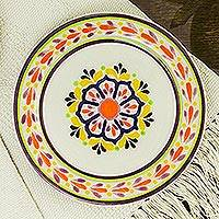 Majolica ceramic salad plates, 'Celaya Sunflower' (pair) - Handcrafted Lead Free Traditional Mexican Majolica 8 Inch Sa