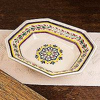 Majolica ceramic octagonal serving bowl, 'Celaya Sunflower' - Octagonal Servng Bowl of Mexican Majolica Ceramic
