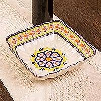 Majolica ceramic square serving bowl, 'Celaya Sunflower' - Mexican Artisan Crafted Majolica 8-Inch Serving Bowl