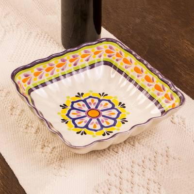 Majolica ceramic square serving bowl, Celaya Sunflower