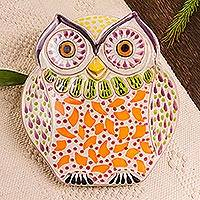 Majolica ceramic dish, 'Curious Orange Owl'