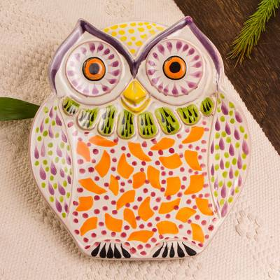 Majolica ceramic dish, 'Curious Orange Owl' - Handcrafted Orange Owl Theme Majolica Ceramic Dish