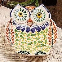 Majolica ceramic dish, 'Curious Green Owl' - Handcrafted Owl Theme Green and Blue Majolica Ceramic Dish