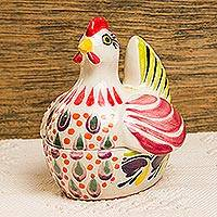 Majolica ceramic covered dish, 'Pretty Hen' - Majolica Ceramic Artisan Crafted Chicken Theme Covered Dish