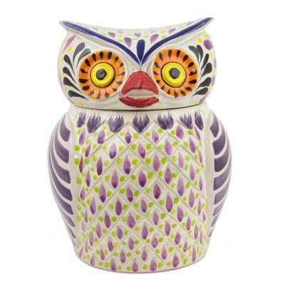 Majolica ceramic cookie jar, 'Purple Owl' - Handcrafted Owl Theme Majolica Ceramic Cookie Jar