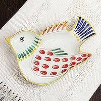 Majolica ceramic dish, 'Red Wing Songbird' - Handcrafted Lead Free Contemporary Mexican Majolica Bird Sha