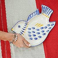 Majolica ceramic dish, 'Blue Wing Songbird' - Majolica Ceramic Canape Dish Handcrafted in Mexico