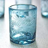 Blown glass rocks glasses, 'Aquamarine Sunflowers' (set of 6) - Engraved Pepita Flowers on Hand Blown Rocks Glassed Set of 6