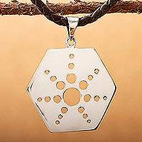 Sterling silver and leather pendant necklace, 'Molecular Star' - Taxco Sterling Silver Artisan Crafted Leather Necklace