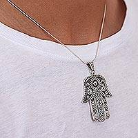 Sterling silver pendant necklace, 'Hamsa Amulet' - Fair Trade Handmade Mexican Artisan Hamsa Pendant in 925 Ste