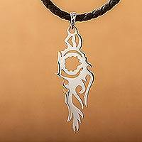 Sterling silver and leather pendant necklace, 'Fire Bird' - Taxco Silver Handmade Silhouette Leather Pendant Necklace