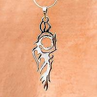 Sterling silver pendant necklace, 'Fire Bird' - Handcrafted Silhouette Taxco Silver Pendant Necklace