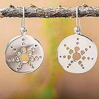 Sterling silver dangle earrings, 'Molecular Sun' - Taxco Sterling Silver Geometric Theme Earrings