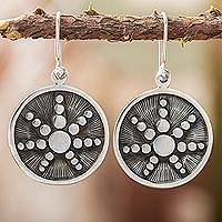 Sterling silver dangle earrings,'Star in the Moon' - Taxco Sterling Silver Artisan Crafted Dangle Earrings