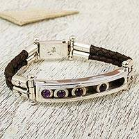 Amethyst leather accent wristband bracelet, 'Taxco Abacus' - Taxco Silver Bracelet with Amethyst and Brown Leather