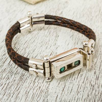 Turquoise leather accent wristband bracelet, 'Taxco Abacus' - Turquoise and Taxco Silver Bracelet with Black Leather