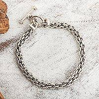 Sterling silver chain bracelet, 'Cancun' - Mexican Sterling Silver Handcrafted Unisex Chain Bracelet