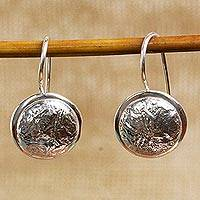 Sterling silver drop earrings, 'Crumpled Pendulums' - Abstract Crafted Taxco Sterling Silver jewellery Earrings