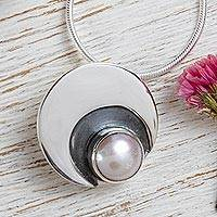 Cultured pearl pendant necklace, 'Iridescent Moon'