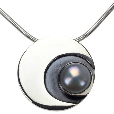 Cultured pearl pendant necklace, 'Iridescent Moon' - Handmade 950 Silver and Pearl Moon Necklace from Mexico