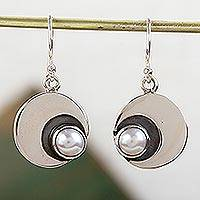 Cultured pearl dangle earrings, 'Iridescent Moon' - 950 Silver and Pearl Dangle Moon Earrings from Taxco