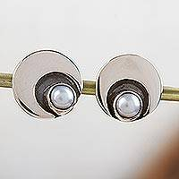 Cultured pearl button earrings, 'Iridescent Moon' - 950 Silver and Pearl Moon Earrings Mexico Taxco Jewelry