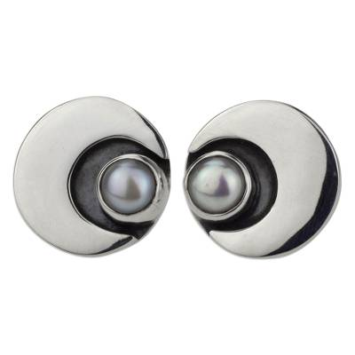 950 Silver and Pearl Moon Earrings Mexico Taxco Jewelry