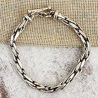 Sterling silver chain bracelet, 'Smooth'